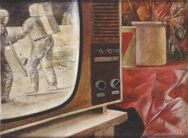 Ulrich Hachulla, Stilleben mit Fernseher, 1972, Mischtechnik auf Hartfaser, 29 x 40 cm