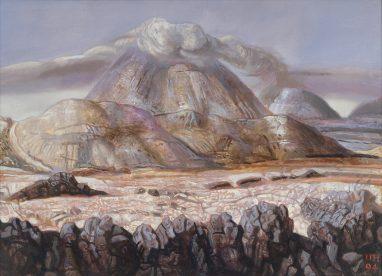 Ulrich Hachulla, Erloschener Vulkan, 1994, Mischtechnik auf Hartfaser, 40 x 56cm