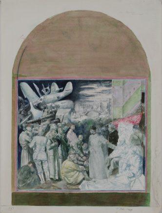 Studie zu Nationalkomitee Freies Deutschland, 1969, Aquarell, 40 x 30 cm