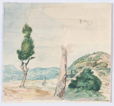 Vorgebirge des Balkan (mit Baumfragment), 1969, Aquarell, 19,7 x 21,1 cm