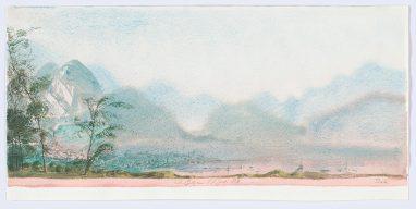 Am Wolfgangsee, 1983, Aquarell, Bild: 16 x 36 cm; Blatt: 17,3 x 36 cm