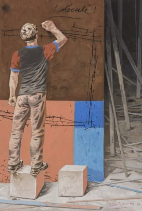 Volker Blumkowski, Décalé, 2017, Mischtechnik auf Bütten, 33 x 23 cm