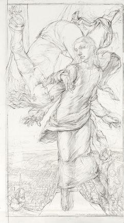Studie zu Versuchung, 2008, Kohle und Bleistift auf Karton, 110 x 61 cm