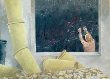 Volker Blumkowski, Lob der Standhaftigkeit, 2017, Mischtechnik auf Bütten, 58 x 78 cm