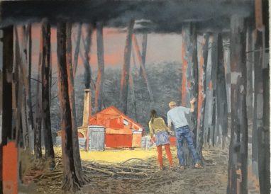 Volker Blumkowski, La Diseuse de Bonne Aventure, 2014, Mischtechnik auf Bütten, 85 x 105 cm