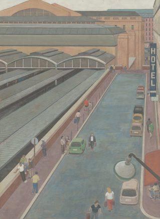 Günter Thiele, Hinterm Gare de l´Est , 2011, Tempera auf Hartfaser, 68,1 x 50 cm