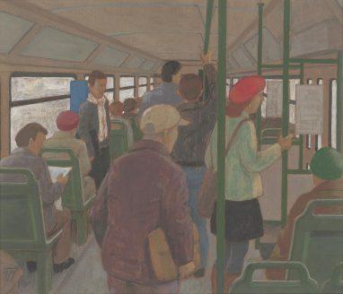 Günter Thiele, In der Straßenbahn III, 2011, Tempera auf Hartfaser, 21,5 x 25 cm