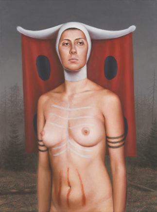 Leif Borges, Woman in the woods, 2020, Acryl und Öl auf Leinwand, 40 x 30 cm