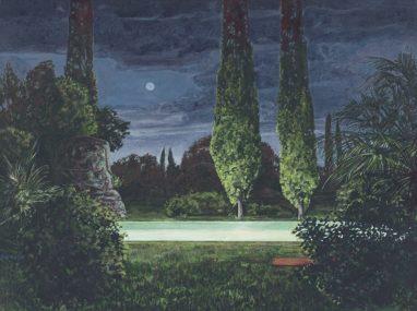 Sten Gutglück, Isle of the dead I, 2020, Acryl auf Leinwand, 30 x 40 cm
