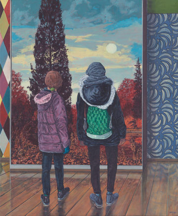 Sten Gutglück, Visitors, 2021, Acryl auf Leinwand, 60 x 50 cm