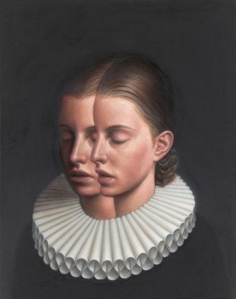 Leif Borges, Doppelkopf, 2021, Acryl und Öl auf Leinwand, 50 x 40 cm