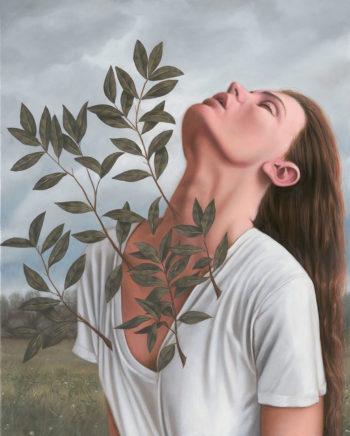 Leif Borges, Daphne, 2021, Acryl und Öl auf Leinwand, 50 x 40 cm