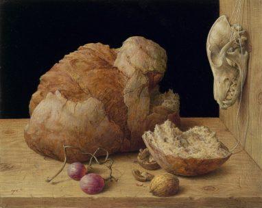 Michael Triegel, Stilleben mit Brot, 2017, Eitempera und Harzölfarben auf MDF, 24 x 30 cm