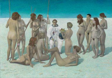 Erich Kissing, Weiche Landung, 2013/14, Eitempera und Öl auf Leinwand auf Holz, 160 x 230 cm