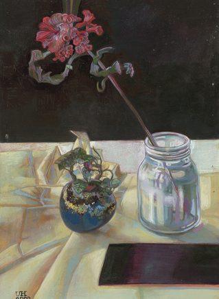 Ulrich Hachulla, Stilleben mit alter Frucht, 2000, Mischtechnik auf Hartfaser, 40 x 27 cm