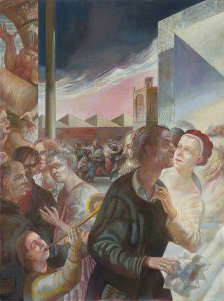 Ulrich Hachulla, Der Platz, Für G. Romano, 2013/14, Mischtechnik auf Hartfaser, 119 x 89 cm
