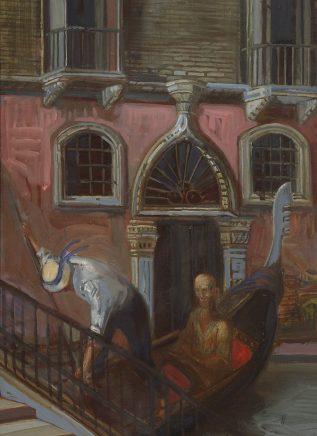 Ulrich Hachulla, Kleiner Kanal, 1988, Mischtechnik auf Hartfaser, 50 x 35 cm