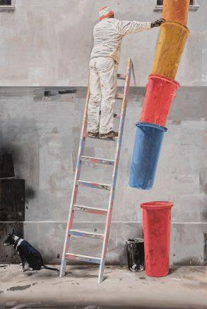 Volker Blumkowski, Es reicht!!, 2017, Mischtechnik auf Bütten, 109 x 74 cm
