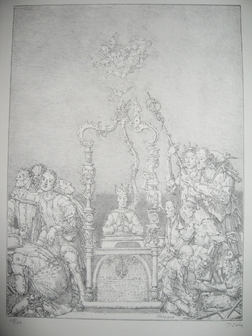 Monstranz Ischia mit Bewegten, 2001, Kreidelithografie, 35,2 x 25,9 cm