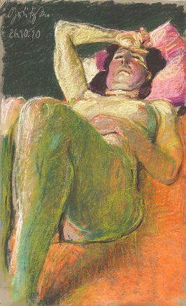 Liegende mit aufgestellten Knien und Hand an der Stirn, 26.10.2010, 2010, Pastell auf Papier, 99,7 x 61 cm