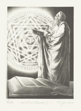 "Michael Triegel, Zu Hanns Eisler ""Faustus"" I (Faustus), 2013, Schablithografie, 19,5 x 14 cm"