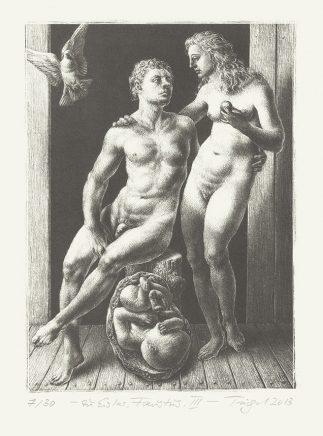 """Michael Triegel, Zu Hanns Eisler """"Faustus"""" III (Adam und Eva), 2013, Schablithografie, 19,5 x 14 cm"""