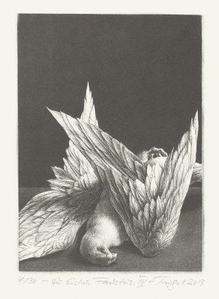 "Michael Triegel, Zu Hanns Eisler ""Faustus"" IV (Vogel), 2013, Schablithografie, 19,5 x 14 cm"
