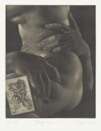 Michael Triegel, Paragone, 2014, Mezzotinto, Vernis mou, 25 x 20 cm