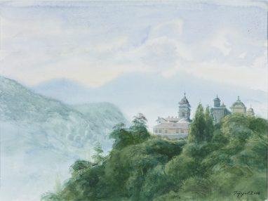 Michael Triegel, Sacro Monte (Varallo), 2006, Aquarell auf Karton, 23,5 x 31,2 cm