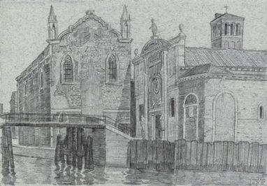 Scuola Grande della Misericordia, 1992, Graphit auf Papier, 17,5 x 25 cm