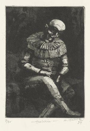 Harlekin, 1994, Strichätzung, Reservage, Aquatinta, Zinkplatte, 20,5 x 14,5 cm