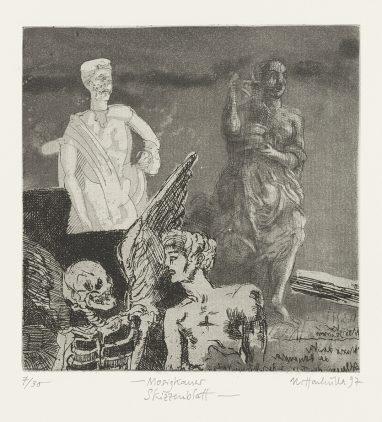 Mosigkauer Skizzenblatt, 1997, Strichätzung, Aquatinta, Zinkplatte, 18 x 17,5 cm
