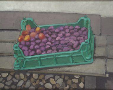 Pflaumenstilleben, 1990, Öl auf Holz, 40,5 x 50 cm