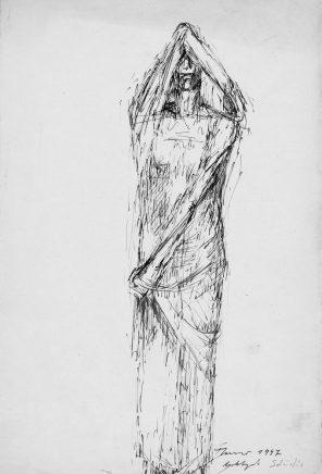 Fritz Cremer, Studie zu Anklagende, 1947, Tusche, 31,5 x 21,5 cm