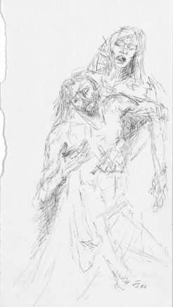 Fritz Cremer, Pieta (Studie nach Grünewald), 1982, Kugelschreiber, 27 x 15 cm