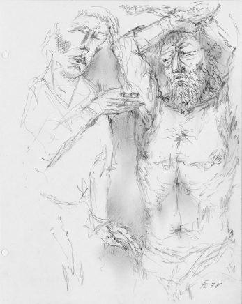 Fritz Cremer, Gespräch, 1978, Bleistift, 26,5 x 21 cm