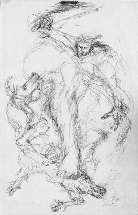 Fritz Cremer, Traum/Einfall, 1980, Kugelschreiber, 29,5 x 19,5 cm