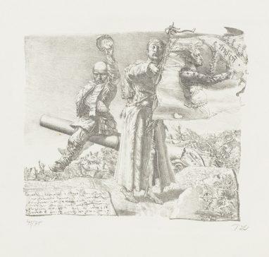 Freiheitsgedanke (Zum deutschen Bauernkrieg), 1978, Kreidelithografie, 21 x 22 cm