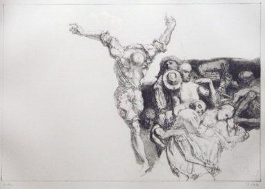 Mahnung, 1989, Kreidelithografie, 25 x 36,8 cm