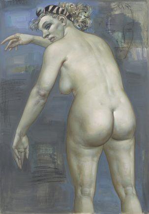 Wolfgang Peuker, o. T. (Rückenakt), o. J. (1998), Öl auf Hartfaser, 124 x 88,5 cm