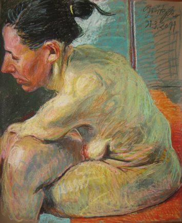 o.T. (Akt seitlich), 31.03.2011, 2011, Pastell auf Papier,100 x 81,5 cm
