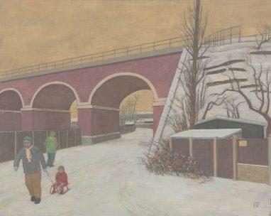 Günter Thiele, Winterlandschaft am Viadukt , 2010, Tempera auf Hartfaser,34 x 43 cm