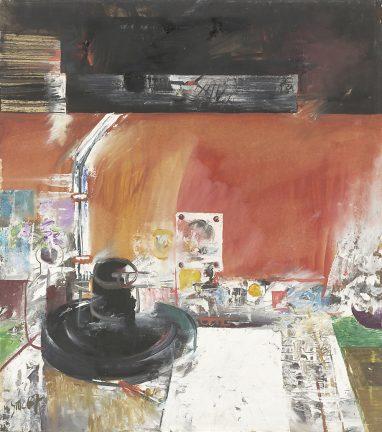 Willi Sitte, Stilleben mit Lampe, 1967, Öl auf Karton, 61 x 54 cm