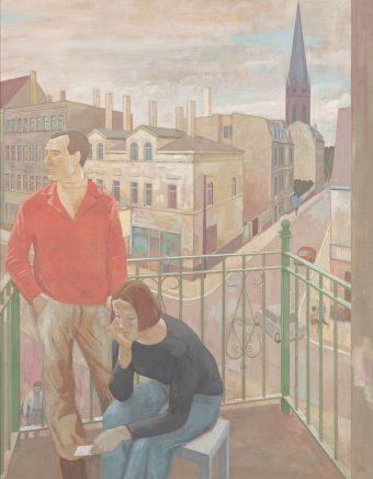 Günter Thiele, Balkon in Plagwitz (Die Unentschlossenen), 1985/86, 2005, Tempera auf Hartfaser, 130 x 102 cm