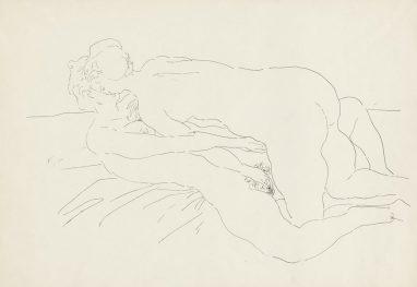 Arno Rink, Paar, 1986, Tusche auf Papier, 42 x 59,3 cm