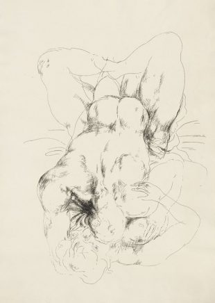 Arno Rink, Liegende, 1980, Tusche auf Papier, 61 x 42,5 cm