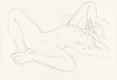 Arno Rink, Akt, 2001, Kugelschreiber auf Papier, 70 x 100 cm