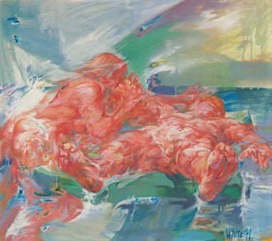 Willi Sitte, Badende mit Luftmatratze, 1971, Öl auf Karton, 54 x 61 cm