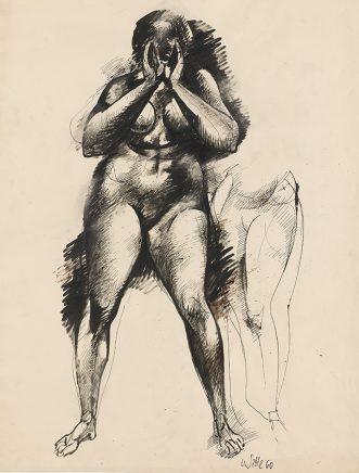 Willi Sitte, Rufender Akt, 1960, Sepia, Feder, Pinsel, grundiert, 85,5 x 69 cm