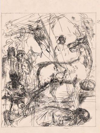 Arno Rink, Trauer, 1984, Feder, Tusche auf Papier, 51 x 43 cm